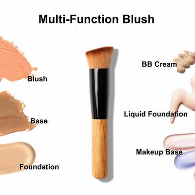 New Flat Angled Wooden Liquid Foundation Powder Contour Bronzer Makeup Brush
