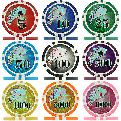 Ying Yang Numbered Laser Poker Chips & Poker Chip Sets, 10-11g ABS Composite