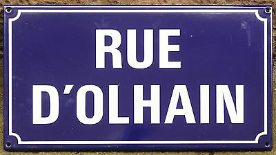 French blue enamel steel street sign plate road name Olhain Maisnil les Ruitz