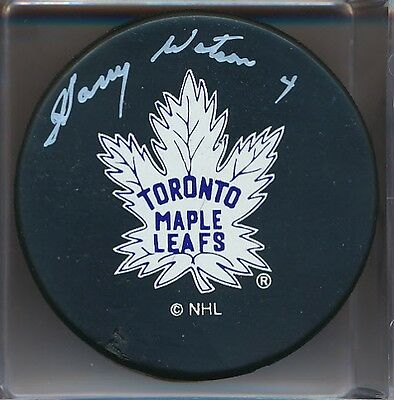 Signed Harry Watson Toronto Maple Leafs Puck Deceased