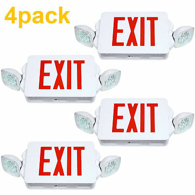 4pack LED Exit Sign & Emergency Lighting Red Letter Compact Combo UL 924