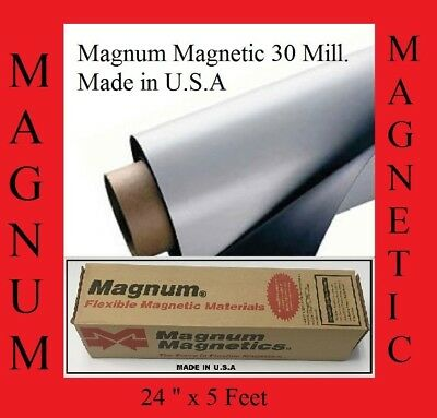 """MAGNUM MAGNETIC ®  30 MIL.BLANK MADE IN USA 24"""" in WIDE X 5 Feet LONG"""