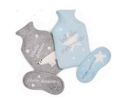 Totes Hot Water Bottle & Eye mask Gift Set Blue or Grey Brand New & Boxed