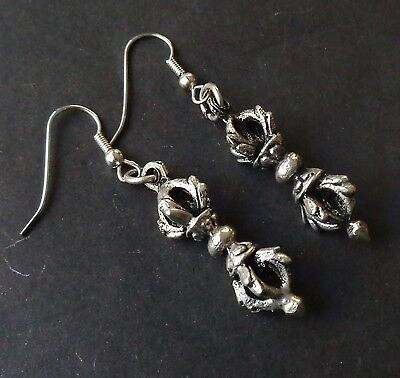 Vintage Earrings Tibetan Dorje Drops Silver Toned 3d