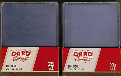 Trading Card Top Loaders - 50 Brand New Toploaders 76mm x 102mm - 2 Packs of 25