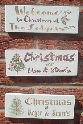 shabby vintage chic family christmas  personalised wooden plaque xmas sign