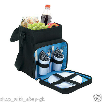 Cooler PICNIC Bag Black - Large Insulated Coolbag Hamper - Plates Cups & Cutlery