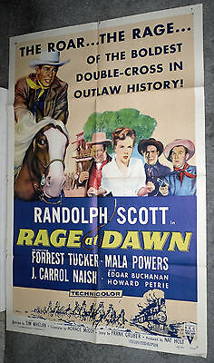 RAGE AT DAWN original 1955 one sheet movie poster RANDOLPH SCOTT/MALA POWERS