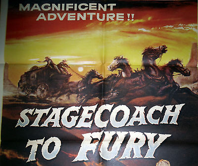 STAGECOACH TO FURY movie poster GREAT WESTERN ART orig1956 1sheet MARI BLANCHARD