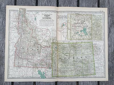 "Antique American 1897 Map from New Century Atlas 16X11"" IDAHO & WYOMING"