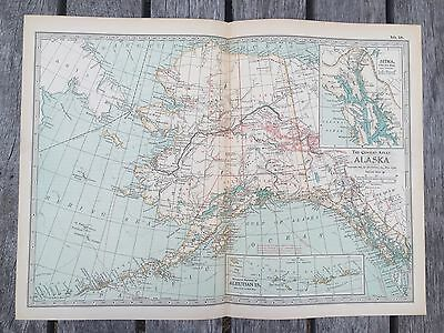 """Antique American 1897 Map from New Century Atlas 16X11"""" State Of ALASKA"""