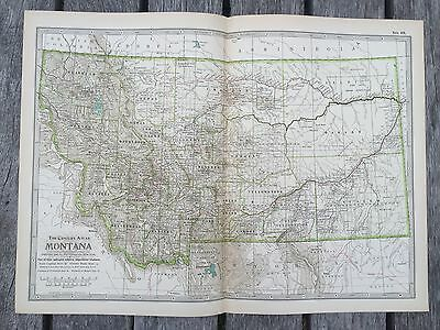 """Antique American 1897 Map from New Century Atlas 16X11"""" MONTANA"""
