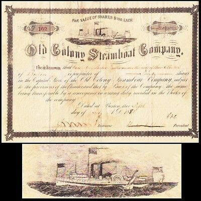 Old Colony Steamboat Company 1883 Stock Certificate