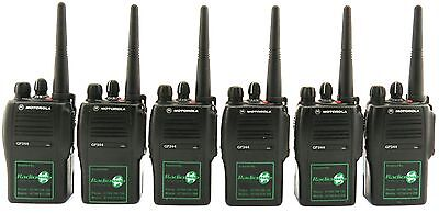 MOTOROLA GP344 UHF 4 WATT WALKIE-TALKIE TWO WAY RADIOS, HOLSTERS & EARPIECES x 6