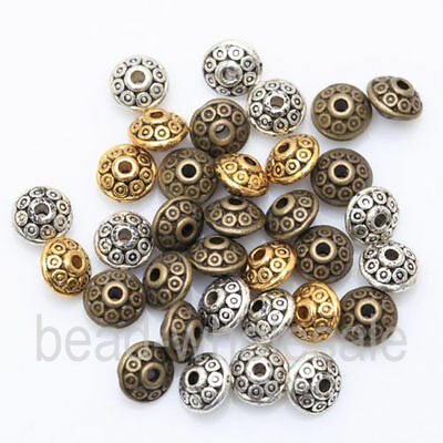 100pcs Tibetan Silver Flying Saucer UFO Style Spacer Beads Jewelry Making 6.5mm