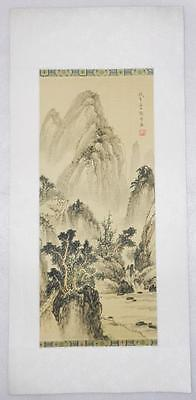 Vintage Chinese Water Color Hand Painted On Silk Landscape Painting  -  Lb-C1322