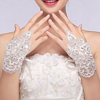 Stylish Party Fingerless Lace Short Paragraph Rhinestone Bridal Wedding Gloves