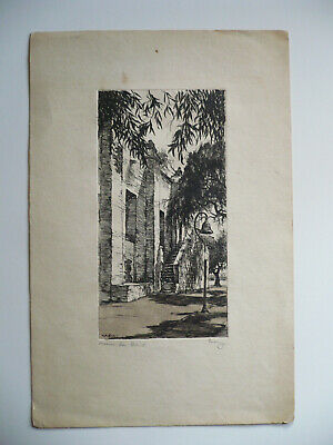 William Eskey, California Ca Listed Etching Print, Mission San Gabriel Calif Art