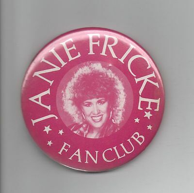 Country Music Artist Janie Fricke Fan Club Pinback Pin Button Rose Colored