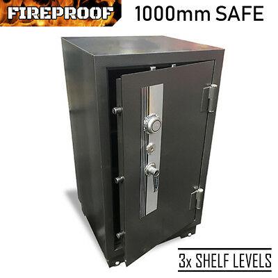 FIREPROOF 1000mm SAFE Heavy Duty 205kg Steel Security Cabinet Tumbler Key Lock