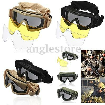 Tactical Airsoft Vented Safety Goggles Glasses Eye Wear Googles Mask With Lenses