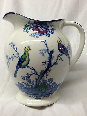 Wood & Sons England Oriental Birds Pitcher 26 Oz Multi-Color Exotic Birds Blue