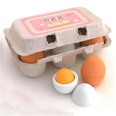 Preschool Educational Kid Pretend Play Toy Wooden Eggs Yolk Kitchen Food Gift