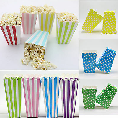 6PCS Popcorn Boxes Baby Shower Decor Birthday Sweet Party Favour Treat Cinema