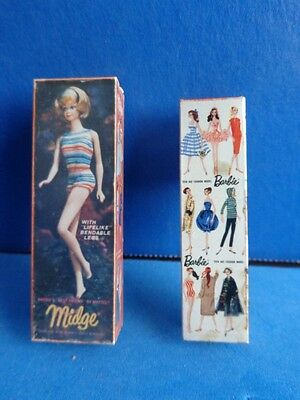 Pair Of Miniature Barbie Doll Boxes Made Into Pins- Doll Dollhouse Accessories