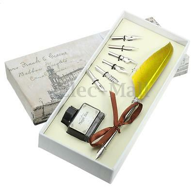 Red Vintage Quill Feather Dip Pen Writing Ink Set Stationery Xmas Gift Box