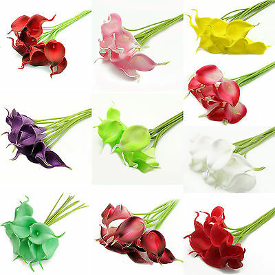1/100X Real Touch Fake Latex Artificial Calla Lily Flower Arrangement Party