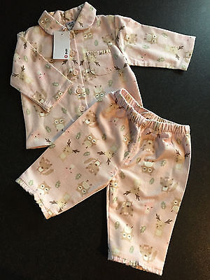 BNWT Baby Girls Sz 00 Pink/Animals Long Style Flannel Winter Style PJ Pyjamas