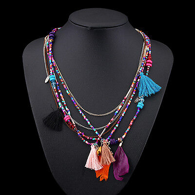 Women's New Boho Style Feathers Tassels Beads Multi-Layer Chain Necklace Present