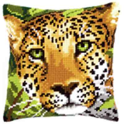 Leopard/Cheetah- Vervaco - Large Holed Tapestry Canvas Cushion Kit - PN-0144823
