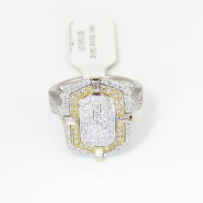 NYJEWEL 14k Solid Gold Brand New Two tone 2ct Diamond Cocktail Ring $3199