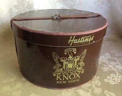 Vtg Knox New York Brown Oval Hat Box Leather Strap Hastings Calif. Round Sturdy