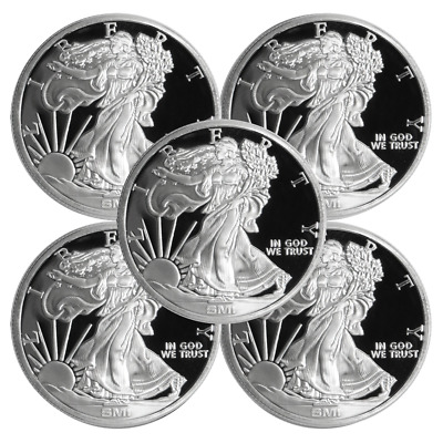Lot of 5 - 1 Troy oz Sunshine Walking Liberty .999 Silver Round Mint Mark SI