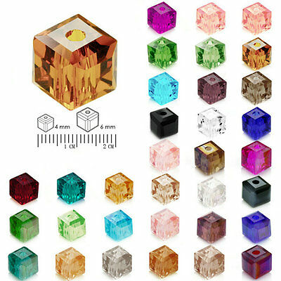 100pcs 4mm 6mm DIY Cristal Perles Spacer Cube Square Center Drilled Bijoux