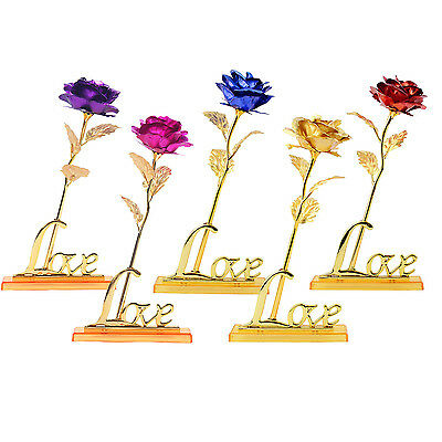 24K Gold Plated Foil Rose Floral Flower Valentine Day Birthday Gift Love Stand