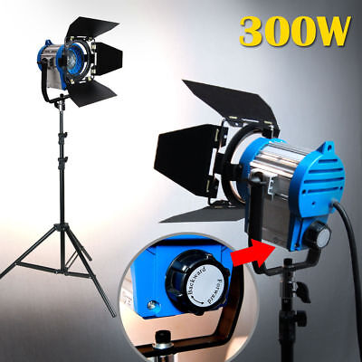 300W Built-in Fresnel Tungsten Spot light Bulb Stuio Stand Kit For Film Camera