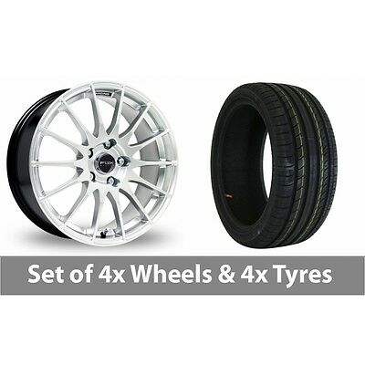 "4 x 17"" Fox Racing FX004 Silver Alloy Wheel Rims and Tyres -  205/40/17"