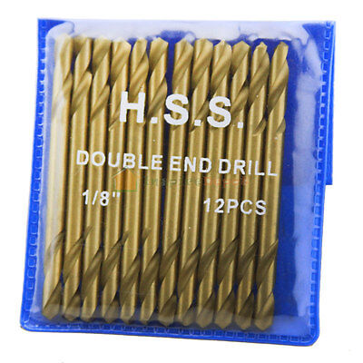 12PC Titanium Coated High Speed Drill Bits HSS Double End DBL Head 1/8""