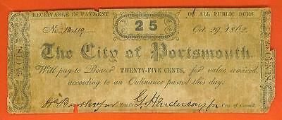 """1862 25¢ """"The City of Portsmouth - Virginia"""" Obsolete!"""
