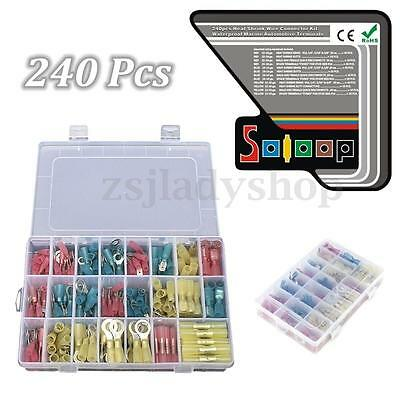 240Pcs Heat Shrink Wire Assorted Terminals Connectors Butt Ring Splice Case Kit