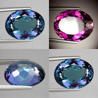 IF 9 cts Huge Oval (14x10 mm) Lab Corundum Color Change Alexandrite AAA Gem A52
