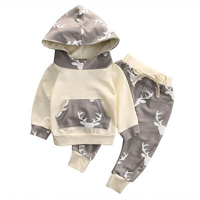 Infant Kids Baby Boys Reindeer Hooded Tops Coat Pants Casual Outfits Clothes Set