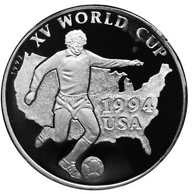 AFGHANISTAN 500 AFGHANIS 1992 Silver PF WORLD CUP SOCCER - US MAP & PLAYER