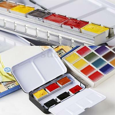 Watercolor Empty Case For 12/24 Half Pans Colors Drawing Artist Paint Iron Box