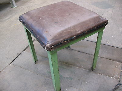 Old art deco period leather top and steel legged industrial  kitchen stool