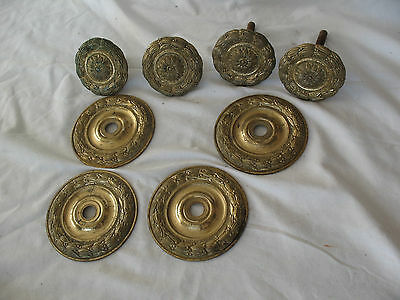 2 pair reclaim salvaged Spanish brass door pull handles knobs on back plates